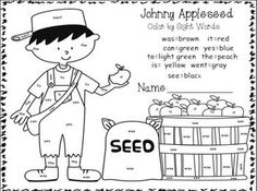 Johnny Appleseed Roll and Color Dice Game. Students can learn number ...