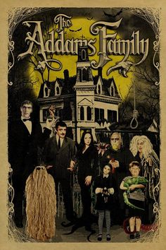 Addams Family White Short Sleeve T-Shirt Poster Wall, Poster Prints, Family Poster, Halloween Wallpaper Iphone, Retro Wallpaper, Vintage Horror, Photo Wall Collage, Halloween Art, Vintage Halloween