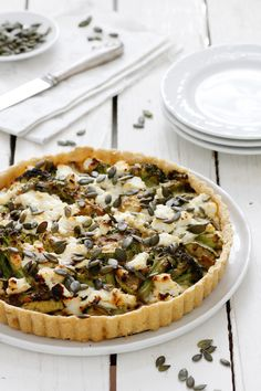 Zucchini Broccoli Quiche with Ricotta | A combination of zucchini. broccoli and ricotta cheese that simply perfect for upcoming Shavuot but for Spring time parties too. Easy to make and made of salty crust, filled with broccoli and zucchini and ricotta cheese royal sauce. @lilcookieblog
