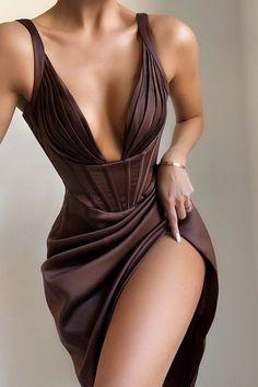 Elegant Dresses, Pretty Dresses, Beautiful Dresses, Cheap Dresses, Mode Outfits, Fashion Outfits, High Fashion Dresses, Satin Mini Dress, Brown Satin Dress