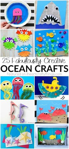 25 Fabulously Creative Ocean Crafts - perfect for summer kids crafts! Or an ocean theme during the school year! These 25 Fabulously Creative Ocean Crafts are perfect for summer kids crafts, ocean kid crafts, fun kids crafts and ocean crafts for kids. Ocean Kids Crafts, Summer Crafts For Kids, Summer Kids, Toddler Crafts, Projects For Kids, Diy For Kids, Craft Projects, Craft Ideas, Kids Fun