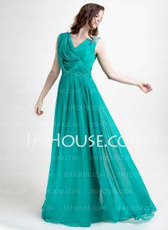 For Mom! Evening Dresses - $136.69 - A-Line/Princess V-neck Floor-Length Chiffon Evening Dress With Ruffle Beading (020015821) http://jjshouse.com/A-Line-Princess-V-Neck-Floor-Length-Chiffon-Evening-Dress-With-Ruffle-Beading-020015821-g15821