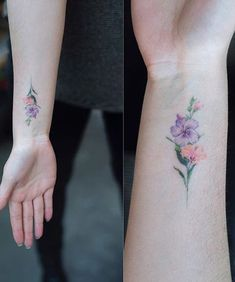 So Pretty Flower Branch Tattoo Design on Wrist for Women