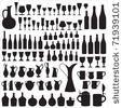 stock vector : Wine ware silhouettes