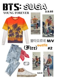 """""""BTS: SUGA """"Fire"""" M/V Outfit #2"""" by itzbrizo ❤ liked on Polyvore featuring Yves Saint Laurent, Wrap and Blue Nile"""