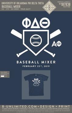 Phi Delta Theta Baseball Mixer Shirt | Fraternity Event | Greek Event #phideltatheta #phidelt Phi Delta Theta, Bid Day Themes, University Of Oklahoma, Greek Life, Mixers, Fraternity, Baseball, Artwork, Shirts