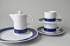 Vintage Kaffee Tee Frühstücksset Kaffeekanne von LeKosmosBerlin