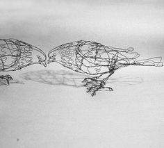 wire pigeon sculpture by sugarsusan