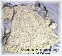 (4) Name: 'Crocheting : Christening Gown, Bonnet and Booties-33