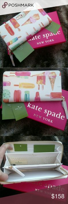 """♠NWT Kate Spade Flavor Of The Month Lacey Wallet♠ Brand New With Tags Kate Spade Flavor Of The Month Cedar Street Popsicles Lacey Wallet. Rare And Hard To Find! Gift Box Included! Zipper Closure, Front Gold Logo, Twelve Credit Card Slots, Two Billfolds, Zipper Change Pocket And Exterior Slide Pocket, 12 Card Slots, 2 Billfold Compartments And One Middle Zip Pocket. Height 4"""" X Length 7.6"""" Material: Patent Leather Features: Coin Purse, Continental Accordion Envelope, Checkbook, Organizer…"""