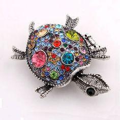 Anillo de Aleación de Zinc, Tortuga, chapado, ajustable & con diamantes de imitación, más colores para la opción, libre de níquel, plomo & cadmio, 60x43mm, tamaño:7.5, Vendido por Unidad,Abalorios de joyería por mayor de China