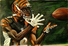 A.J. Green, Bengals painting by Steve Colyer.