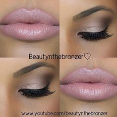 Bronze Smokey Eye Nude Lip Makeup Tutorial