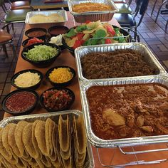 VVC day part taco bar lunch Party Ideas, Theme Ideas, Taco Bar Wedding, Wedding Reception Food, Wedding Catering, Party Food Bars, Mexican Buffet, Graduation Party Planning, Gourmet