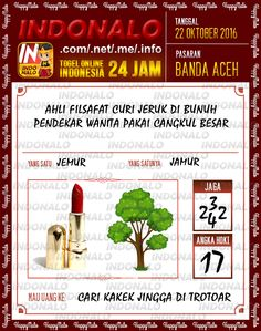 Rumus Shio Togel Online Live Draw 4D Indonalo Banda Aceh 22 Oktober 2016