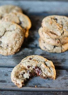 Delicious, easy olive oil chocolate chip cookies made with whole wheat flour. No one can tell that these are butter free!