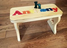 Personalized Puzzle Bench Stool Step With Child's Name