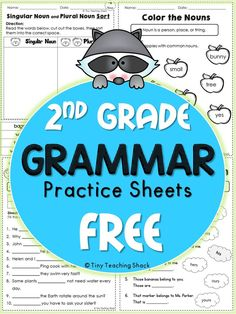 Second Graders: These handy no-prep practice sheets should help your students get extra practice on their grammar. This packet is made for second grade, but it is also suitable for advanced first graders or third graders who need extra help. 2nd Grade Grammar, 2nd Grade Ela, 2nd Grade Writing, 2nd Grade Classroom, 2nd Grade Reading, Guided Reading, Third Grade, Second Grade Freebies, Reading Tutoring