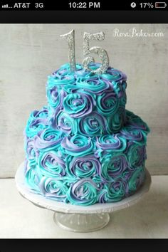 Aqua and purple roses - cupcakes would look cute...Maggie's Open House