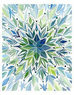 Handmade Watercolor Abstract Circular Triangles- 8x10 Wall Art Watercolor Print