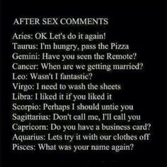 After-Sex Comments According to Zodiac Sign