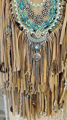 Handmade Tan Suede Fringe Shoulder Bag Vintage Rhinestones Hippie Purse tmyers