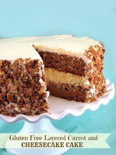 Gluten-Free Layered Carrot and Cheesecake Cake | @Jeanine Friesen ~The Baking Beauties
