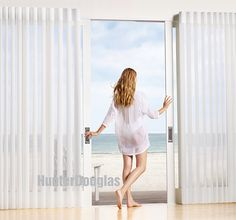 White looks right with Hunter Douglas Luminette® Privacy Sheers ♦ Hunter Douglas Window Treatments #beach Visit www.gicor.ca for more