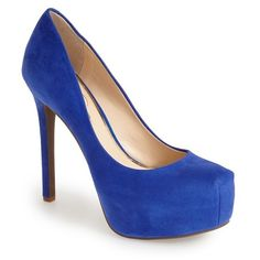 Women's Jessica Simpson 'Rebeca' Platform Pump ($94) ❤ liked on Polyvore featuring shoes, pumps, heels, sapatos, blue, new cobalt, jessica simpson pumps, sparkly shoes, platform shoes and narrow shoes