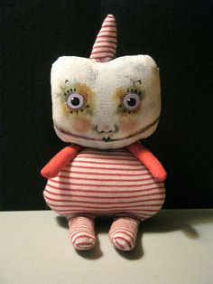 sweet monster clown doll ooak art doll strange por sandymastroni, $48.00