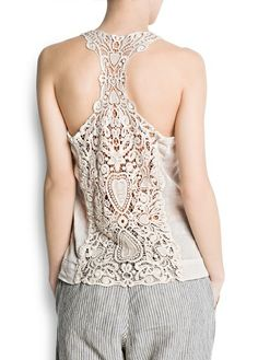 Crochet back cotton top - MNG