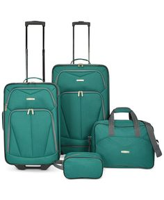 Travel Select has you covered for any length of journey with this versatile matched luggage set featuring two upright suitcases, a carry-all tote, and a compact utility bag. | Polyester | Imported | D