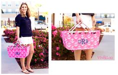 Viv & Lou Pink Anchor Market Basket #Monogram #Anchor #Nautical #Pink #Graduation #Gifts