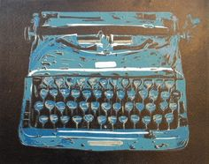 Typewriter reduction linoleum print by ElizabethDavison on Etsy