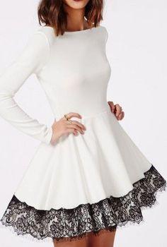 Kaley Lace Hem Skater Dress