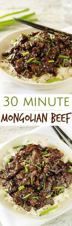 30 Minute Mongolian Beef Recipe via The Chunky Chef | Mongolian beef is such a classic and delicious Asian dish... and easy to make at home! In just 30 minutes you'll have an incredible meal! - The BEST 30 Minute Meals Recipes - Easy, Quick and Delicious Family Friendly Lunch and Dinner Ideas