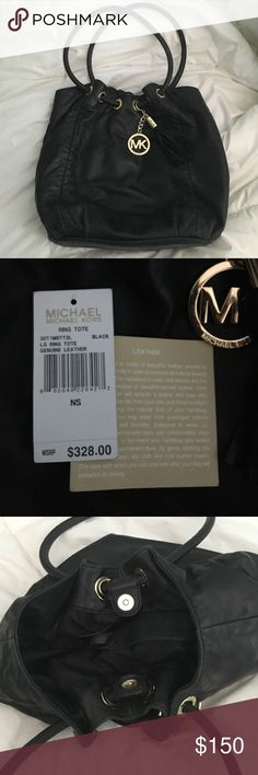 Michael Kors Black Leather Tote Love this bag! Has some wear but still in good condition! Michael Kors Bags Totes