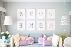 Light Blue  Lavendar Living Room with hanging pendants beside sofa and gallery wall - Querido Mudei a Casa project by Ana Antunes Home Styling