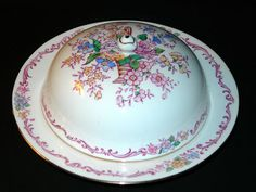 Vintage Antique Crown Staffordshire Covered Butter Dish   eBay