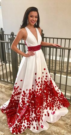Charming Red Beaded Floral A Line Long Prom Dresses with Deep V-Neck OKA85 #prom #red #white #vneck #long #okdresses