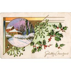 JC Postcard Holly Mistletoe Snow scene Gelukkig Nieuwjaar Happy New Year Listing in the Greetings,Postcards,Collectables Category on eBid United Kingdom | 167830630