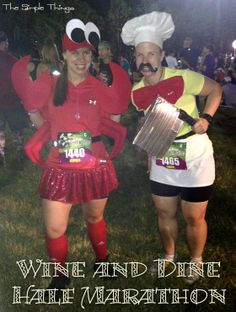 Wine and Dine Half Marathon. Sebastian and Chef Louie! Disney Running Outfits, Race Day Outfits, Disneyland Half Marathon, Disney Princess Half Marathon, Princess Running Costume, Running Costumes, Halloween Run, Disney Halloween, Halloween Ideas