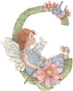 Alfabeto retro de angelitos.   Oh my Alfabetos!