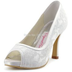 45ade05c6e58 014 IP Ivory White Women Bride Bridesmaids Evening Bridal Party Pumps Peep  Toe High Heels Inside Platforms Lace Wedding Shoes-in Women s Pumps from  Shoes on ...