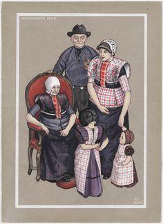 Spakenburg 1948 kunstenaar: Duyvetter, Jan Gouache gemaakt voor de vervaardiging van een ansichtkaart, voorstellende diverse generaties in de dracht van Spakenburg. #Utrecht #Spakenburg
