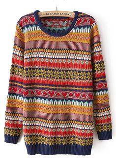 Multicolor Geometric Striped Round Neck Cotton Blend Sweater