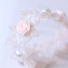 Apricot pink Rose pearl beaded Ribbon trim for by Vickiscabs