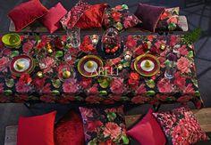 Herbstrose als Tischdecke mit passenden Kissen von Apelt, Artikel 3039