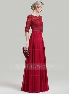 A-Line/Princess Scoop Neck Floor-Length Beading Sequins Zipper Up Sleeves 1/2 Sleeves No Burgundy Winter Spring Fall General Plus Chiffon Evening Dress