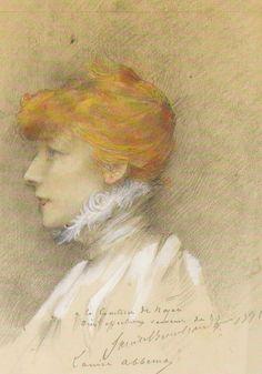 Louise Abbéma, Portrait of Sarah Bernhardt, century French Icons, Golden Age, Les Oeuvres, Theatre Actors, Vintage Ladies, Portraits, Victorian, Drawings, Redheads